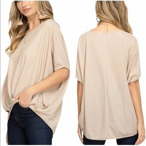 SHE & SKY taupe drop shoulder pleated hem top NWT